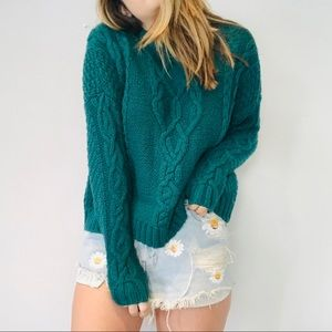 Aerie green blue cable knit oversized sweater